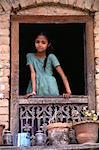 Girl Standing at Window Nepal    Stock Photo - Premium Rights-Managed, Artist: Peter Christopher, Code: 700-00002192