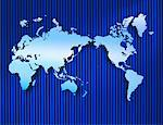 Flat Map of World on Striped Background    Stock Photo - Premium Rights-Managed, Artist: Nora Good, Code: 700-00009615
