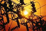 Silhouette of Power Substation at Sunset    Stock Photo - Premium Rights-Managed, Artist: Dale Sanders, Code: 700-00011096