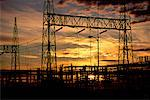 Silhouette of Power Substation at Sunset    Stock Photo - Premium Rights-Managed, Artist: Dale Sanders, Code: 700-00012190