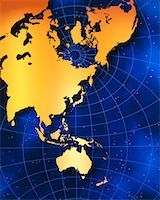 Map of Australia and Pacific Rim    Stock Photo - Premium Rights-Managednull, Code: 700-00012382