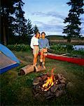 Couple Camping, Tom Thomson Lake Algonquin Park, Ontario, Canada    Stock Photo - Premium Rights-Managed, Artist: Greg Stott, Code: 700-00012924
