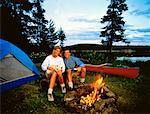 Couple Camping, Tom Thomson Lake Algonquin Provincial Park Ontario, Canada