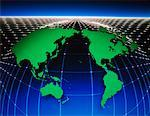 World Map with Grid and Horizon    Stock Photo - Premium Rights-Managed, Artist: Imtek Imagineering, Code: 700-00013050