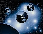 Three Globes Pacific Rim, North and South America, Europe and Africa    Stock Photo - Premium Rights-Managed, Artist: Imtek Imagineering, Code: 700-00013297
