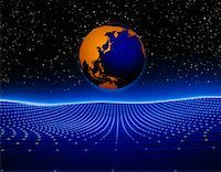 Globe and Grid Pacific Rim    Stock Photo - Premium Rights-Managednull, Code: 700-00013519