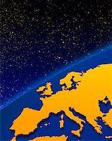 Globe with Horizon and Starry Sky Europe    Stock Photo - Premium Rights-Managednull, Code: 700-00014131