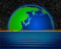 Globe and Horizon Pacific Rim    Stock Photo - Premium Rights-Managednull, Code: 700-00014308