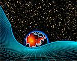 Globe and Grid with Starry Sky Asia    Stock Photo - Premium Rights-Managed, Artist: Imtek Imagineering, Code: 700-00014558
