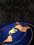 World Map with Rings and Starry Sky    Stock Photo - Premium Rights-Managed, Artist: Imtek Imagineering, Code: 700-00014816