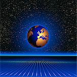 Globe and Grid in Starry Sky Europe    Stock Photo - Premium Rights-Managed, Artist: Imtek Imagineering, Code: 700-00014835