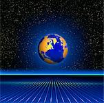 Globe and Grid with Starry Sky North America    Stock Photo - Premium Rights-Managed, Artist: Imtek Imagineering, Code: 700-00014843