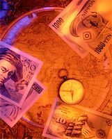 International Currency, Compass And Antique Map    Stock Photo - Premium Rights-Managednull, Code: 700-00016561