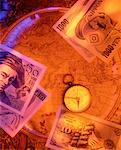 International Currency, Compass And Antique Map    Stock Photo - Premium Rights-Managed, Artist: David Muir, Code: 700-00016561