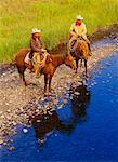 Cowboys on Horses by Stream Douglas Lake Ranch British Columbia, Canada