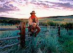 Cowboy Sitting on Fence, Douglas Lake Ranch, British Columbia Canada