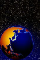Globe in Space Pacific Rim    Stock Photo - Premium Rights-Managednull, Code: 700-00016752
