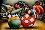 Illustration of Clowns Boxing    Stock Photo - Premium Rights-Managed, Artist: James Wardell, Code: 700-00016920