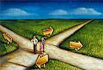 Illustration of Family Standing At Intersecting Roads