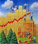 Illustration of Business People Building Line Graph    Stock Photo - Premium Rights-Managed, Artist: Thomas Dannenberg, Code: 700-00017491