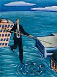 Illustration of Businessman Walking Tightrope Over Circling Sharks    Stock Photo - Premium Rights-Managed, Artist: James Wardell, Code: 700-00017570