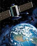 Satellite Over Earth North America    Stock Photo - Premium Rights-Managed, Artist: Rick Fischer, Code: 700-00017597