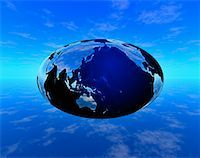 Oval Globe and Clouds Pacific Rim and North America    Stock Photo - Premium Rights-Managednull, Code: 700-00017753