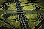 Aerial View of Highway Cloverleaf Edmonton, Alberta, Canada