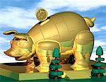 Illustration of Golden Piggy Bank    Stock Photo - Premium Rights-Managed, Artist: Rick Fischer, Code: 700-00020102