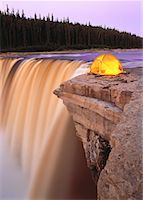 Tent near Waterfall, Alexandra Falls, Hay River, Twin Falls Gorge Territorial Park Northwest Territories, Canada    Stock Photo - Premium Rights-Managednull, Code: 700-00021755