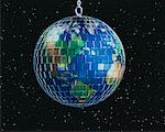 Globe as Mirror Ball in Space North America    Stock Photo - Premium Rights-Managed, Artist: Rick Fischer, Code: 700-00021775