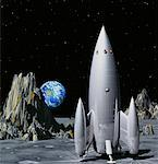 Space Ship on Moon with Earth    Stock Photo - Premium Rights-Managed, Artist: Rick Fischer, Code: 700-00021777