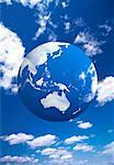 Globe and Sky Australia and Pacific Rim    Stock Photo - Premium Rights-Managed, Artist: Ken Davies, Code: 700-00021907