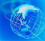 Wire Globe and Shadow Pacific Rim    Stock Photo - Premium Rights-Managed, Artist: Ken Davies, Code: 700-00021917