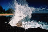 Waves Crashing on Rocks Near Princeville, Kauai Hawaii, USA    Stock Photo - Premium Rights-Managednull, Code: 700-00022475