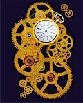 Gears and Pocket Watch Stock Photo - Premium Rights-Managed, Artist: Guy Grenier, Code: 700-00022887