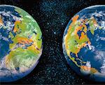 Two Globes in Starry Sky Europe, North and South America    Stock Photo - Premium Rights-Managed, Artist: Nora Good, Code: 700-00024020