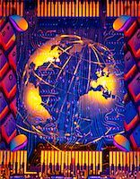 earth no people - Globe and Circuit Board Atlantic Ocean    Stock Photo - Premium Rights-Managednull, Code: 700-00024554