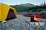 Campsite and Canoes, MacKenzie Mountains and Keele River Northwest Territories, Canada