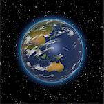 Globe in Starry Sky Pacific Rim    Stock Photo - Premium Rights-Managed, Artist: Rick Fischer, Code: 700-00024703