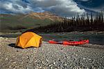 Campsite MacKenzie Mountains Northwest Territories, Canada    Stock Photo - Premium Rights-Managed, Artist: Brian Sytnyk, Code: 700-00025331