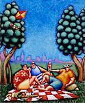 Illustration of People Having Picnic    Stock Photo - Premium Rights-Managed, Artist: James Wardell, Code: 700-00025493