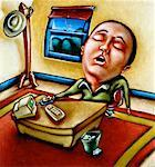 Illustration of Businessman Sleeping at Desk    Stock Photo - Premium Rights-Managed, Artist: James Wardell, Code: 700-00025726