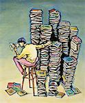 Illustration of Man Reading Books Next to Stacks of Books    Stock Photo - Premium Rights-Managed, Artist: James Wardell, Code: 700-00025872