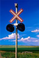Railroad Crossing Southern Alberta, Canada    Stock Photo - Premium Rights-Managednull, Code: 700-00026035