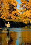 Man Fly-Fishing in Autumn Bow River, Alberta, Canada    Stock Photo - Premium Rights-Managed, Artist: Ron Stroud, Code: 700-00026141