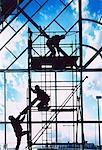 Silhouette of Construction Workers on Scaffolding    Stock Photo - Premium Rights-Managed, Artist: Ken Davies, Code: 700-00026221