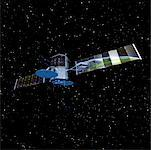 Communications Satellite in Space Reflecting Globe    Stock Photo - Premium Rights-Managed, Artist: Rick Fischer, Code: 700-00026821