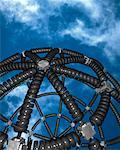 Telephone Cord Sphere in Sky    Stock Photo - Premium Rights-Managed, Artist: Guy Grenier, Code: 700-00026886