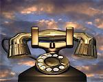 Antique Telephone in Sky    Stock Photo - Premium Rights-Managed, Artist: Guy Grenier, Code: 700-00026888